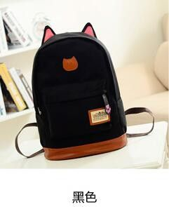 15b85fcb1802 2016 Vintage Women Canvas Backpack for Teenage Girls School Bags Cartoon  Cat Backpack Female Travel Bag mochila rucksack daypack