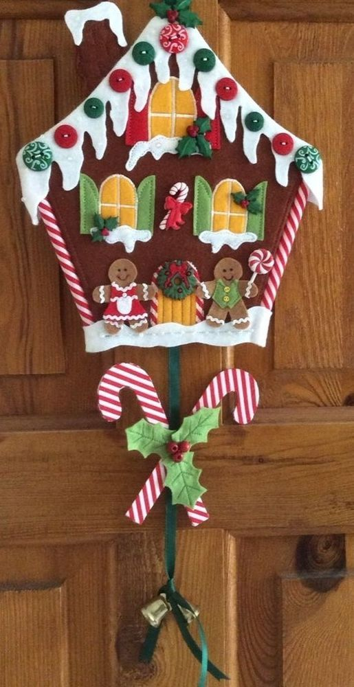 PATCHWORK /APPLIQUE CUTE GINGERBREAD HOUSE CHRISTMAS WALLHANGING ...