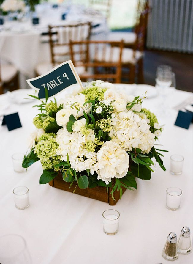 Navy and white nautical wedding nautical wedding for Wedding table floral centerpieces