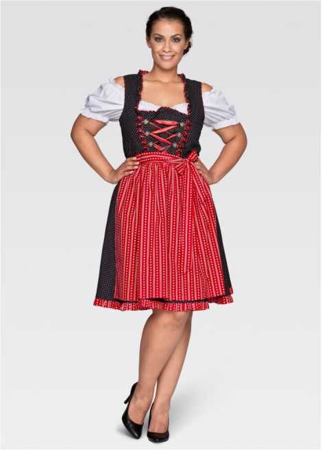 Dirndljurk+blouse+schort zwart/rood - bpc bonprix collection - bonprix.nl