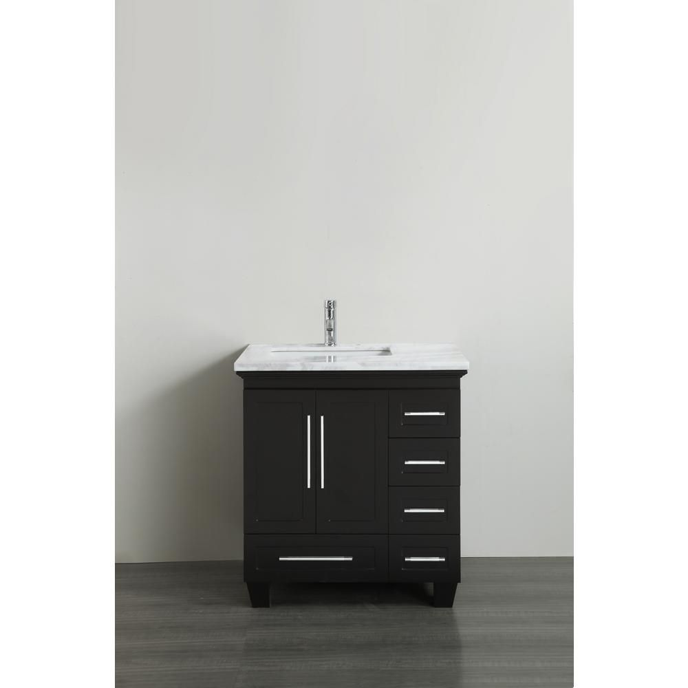 Eviva Loon 30 50 In W X 22 In D X 34 In H Bath Vanity In Espresso With Carrera Marble Vanity Top In White With White Basin Marble Vanity Tops Single