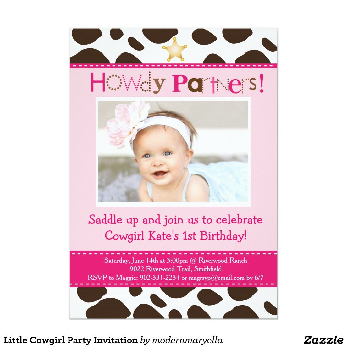 Little Cowgirl Party Invitation | Invitations | Pinterest ...