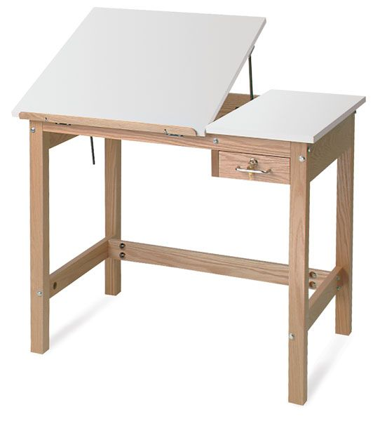 This Wooden Drafting Table Is Constructed With A Solid Oak Frame And Assembled Using Thru Bolt Construction To Add E Plywood Furniture Plans Art Desk Art Table