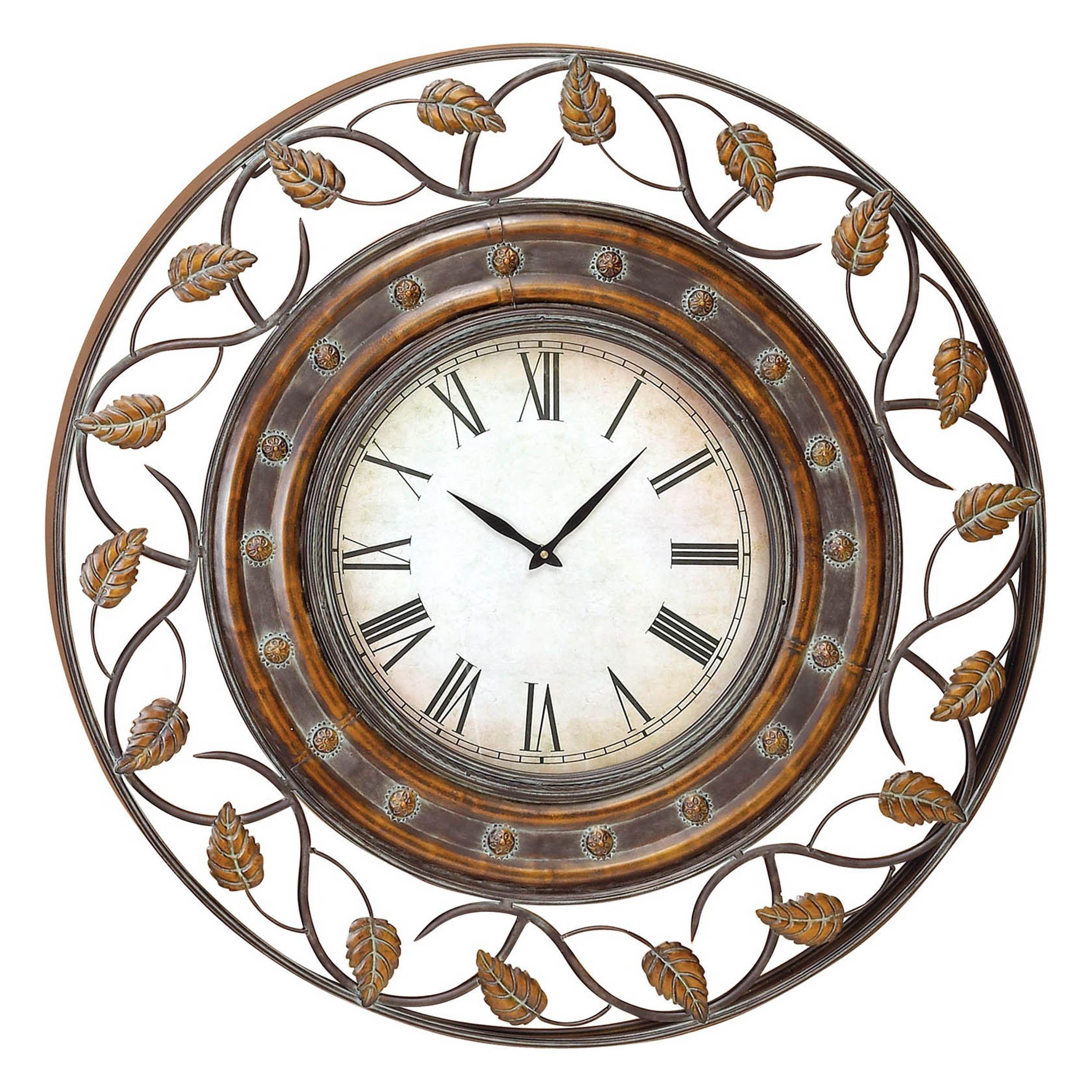 Aspire Gold Brown Metal 36 Inch Decorative Iron Wall Clock