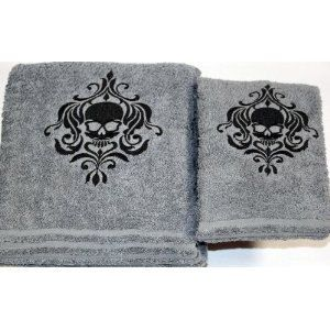 Photo of Items similar to Halloween – Skull – Gothic Bath Towel Set, Gray with Black stitching on Etsy