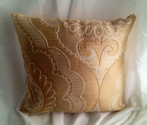 Decorative Gold and White Throw Pillow- Designer fabric