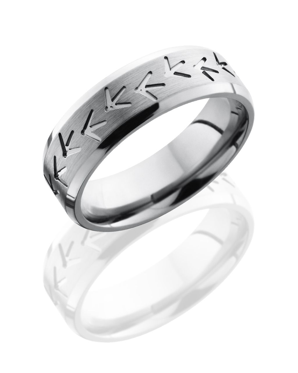 Turkey Track Wedding Band In Titanium  Camoeverafter