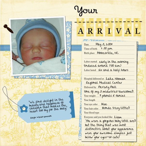Your Arrival (baby book page 11)