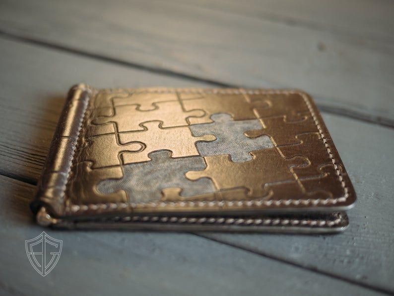 Leather money clip Black slim wallet Anniversary gift men