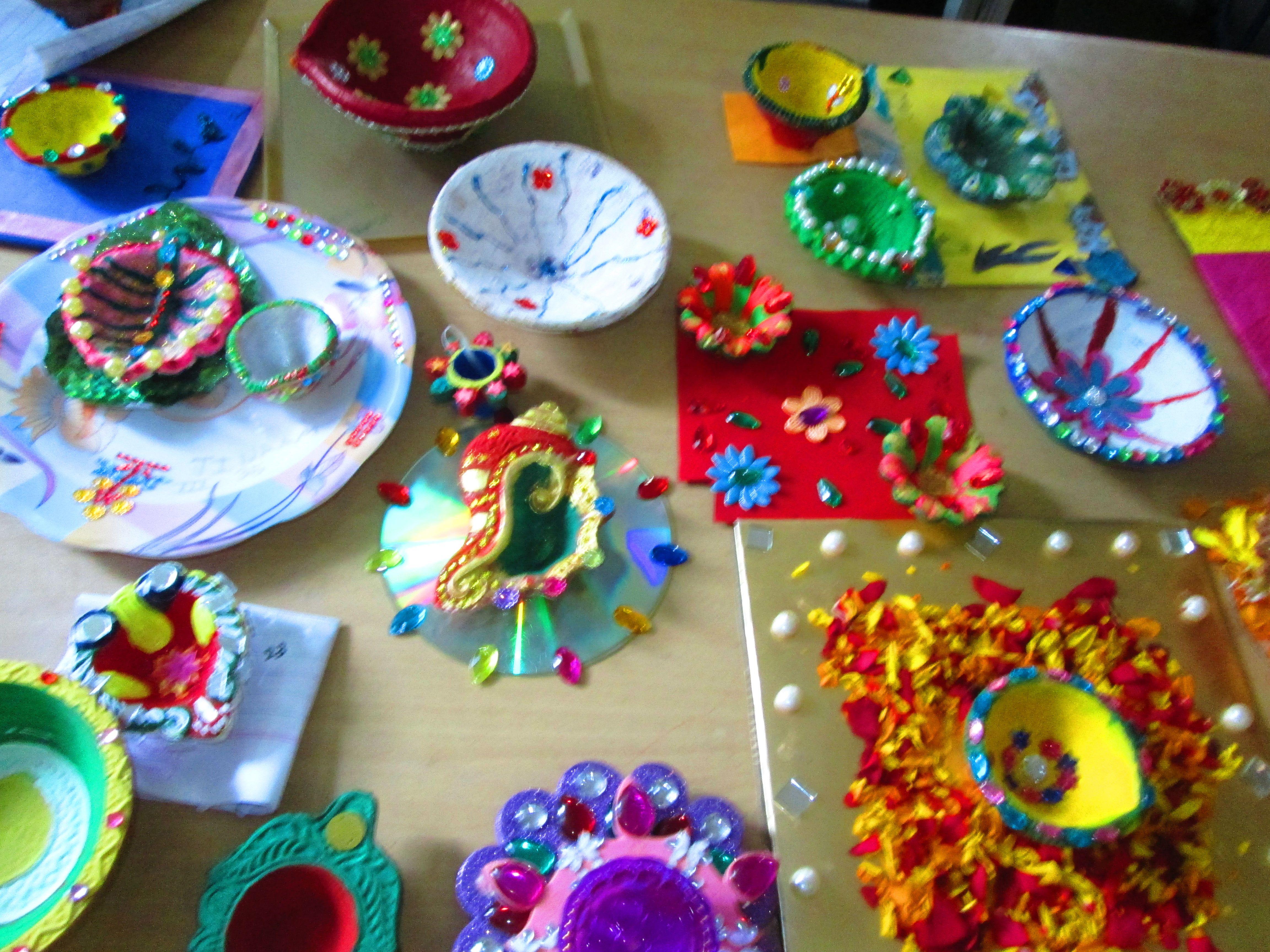 Diya Decoration Showing By S E International School Students