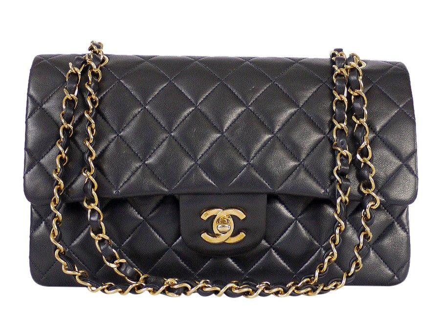 fac700493 Chanel 2.55 Double Flap Classic Shoulder Bag 25cm Black - Chanel Black  Lambskin 2.55 Double Flap