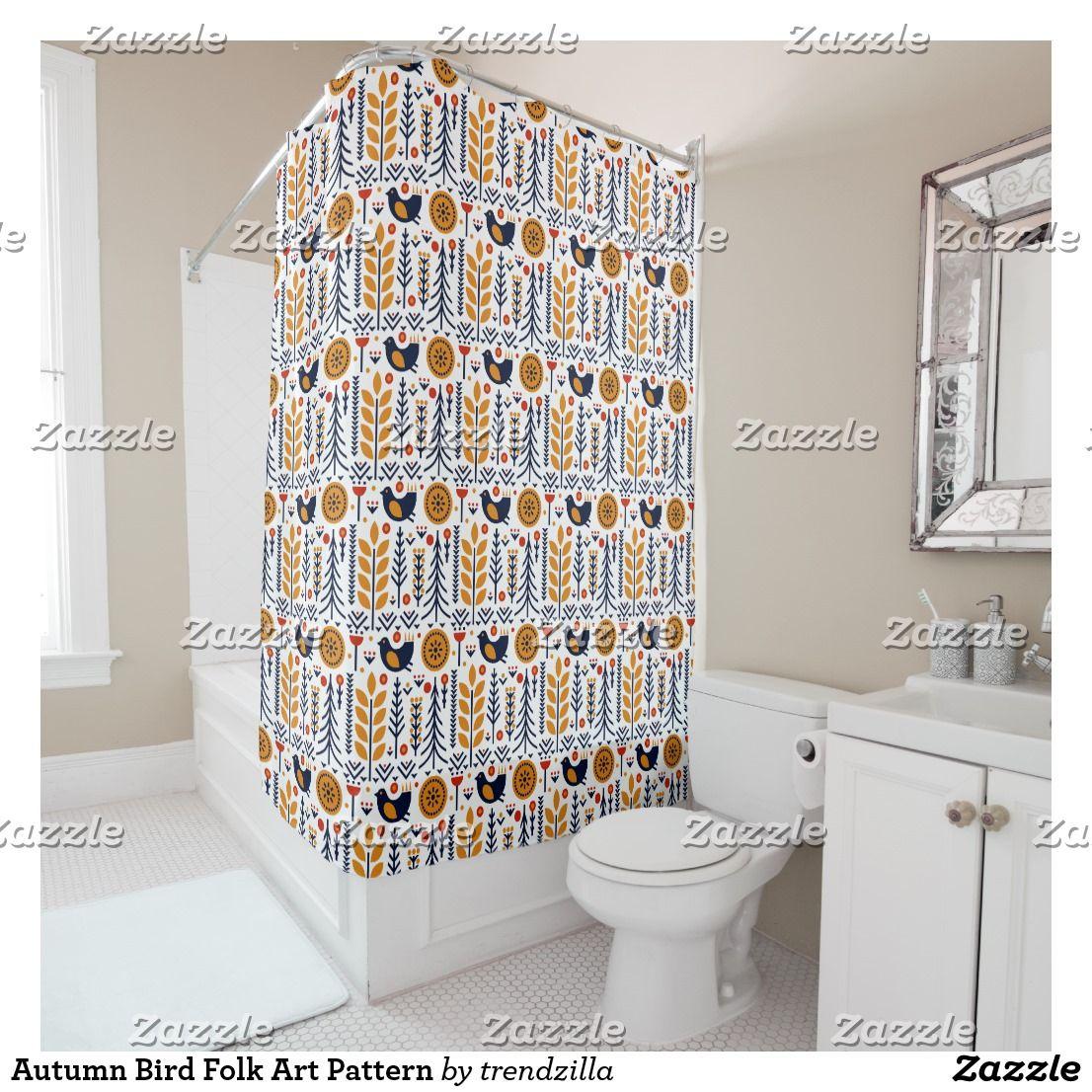 Autumn Bird Folk Art Pattern Shower Curtain Zazzle Com Patterned Shower Curtain Custom Shower Curtains Bathroom Decor Folk art bathroom decor