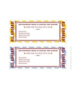 FREE DiY Day Printable Train Ticket Invitations Trains Birthday Party Parties