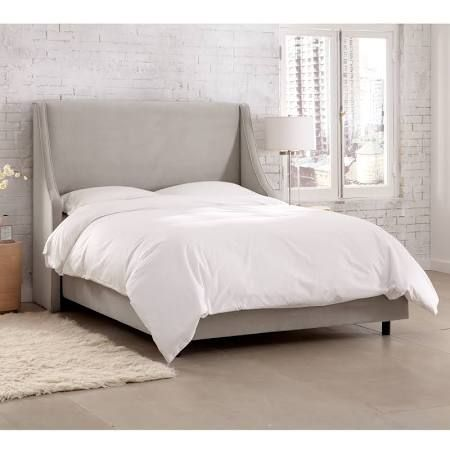 Light Grey Upholstered Bed Google Search Velvet Upholstered Bed Upholstered Beds Upholstered Panel Bed