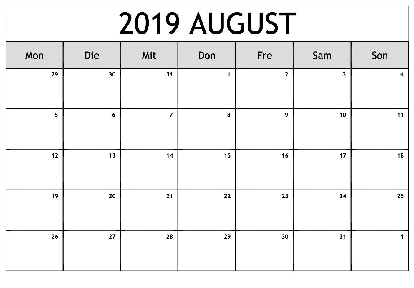 Blatt Kalender August 2019 Zum Ausdrucken Blank Calendar