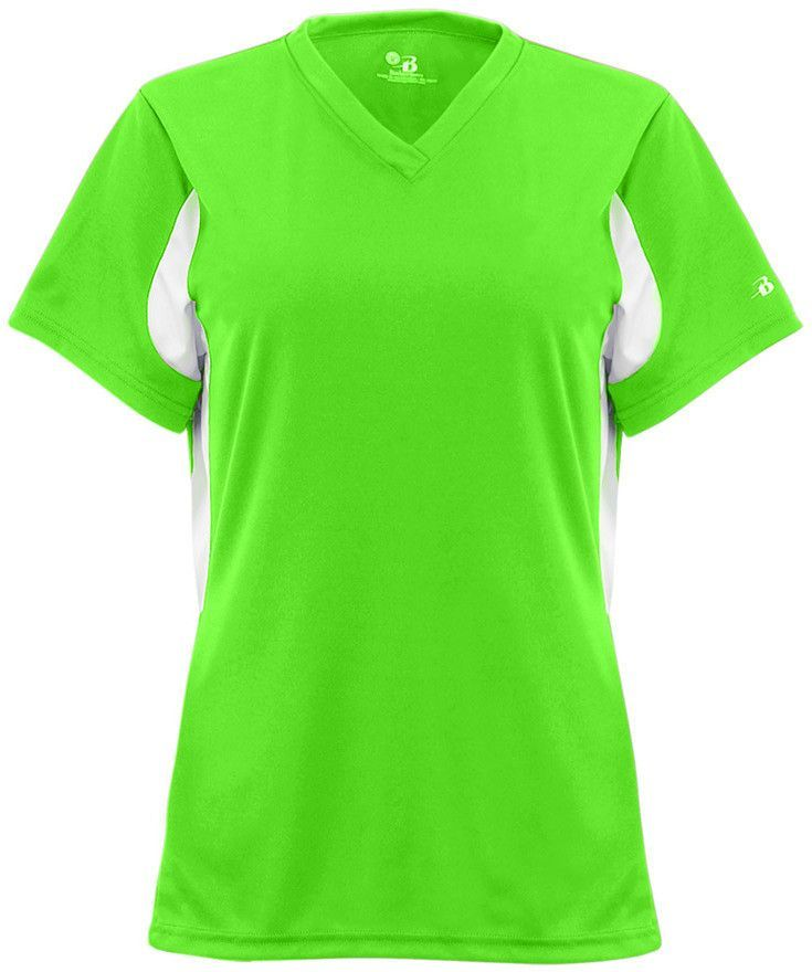 badger ladies' polyester rally jersey - lime / white (2xl)