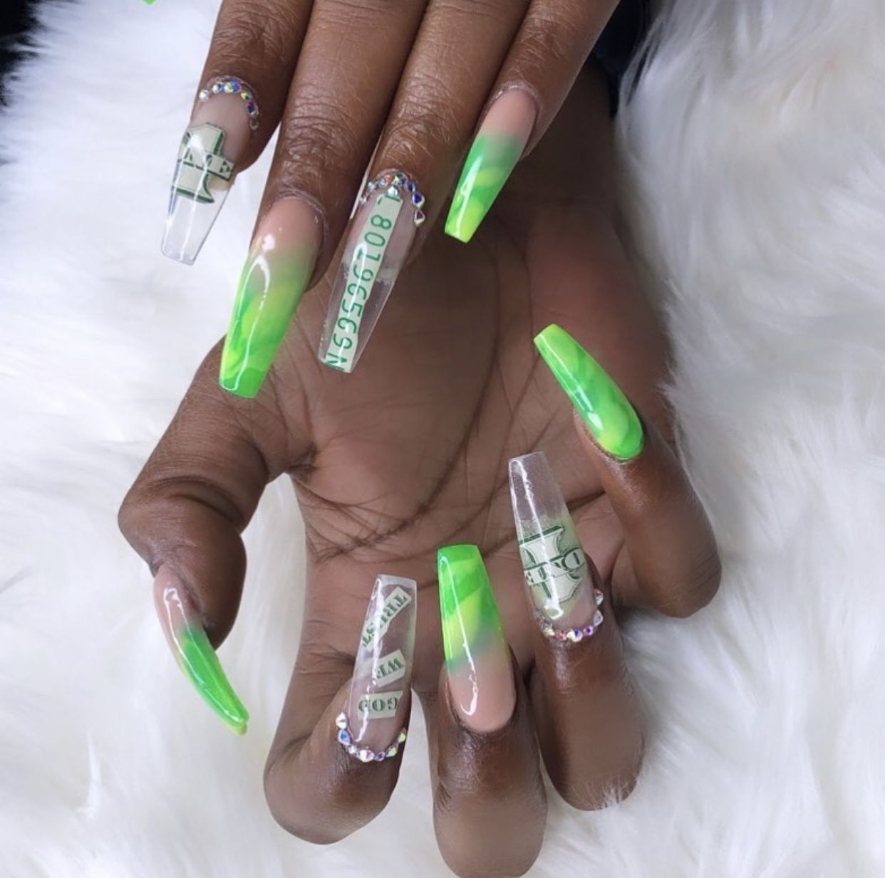 Neon Green Coffin Money Nails W Ombre And Rhinestones With