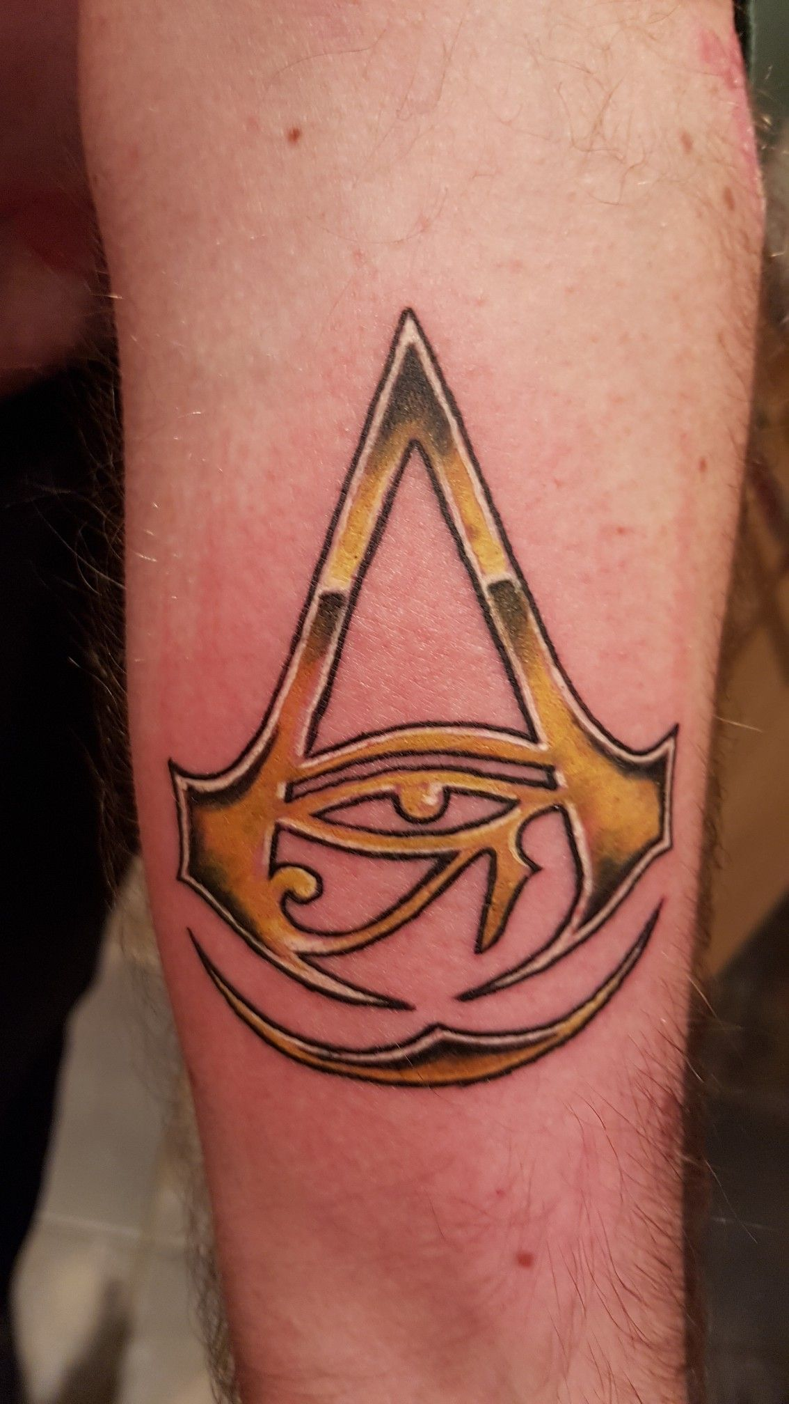 Assassins Creed Origins Tattoo On Hubbies Forearm Body Art