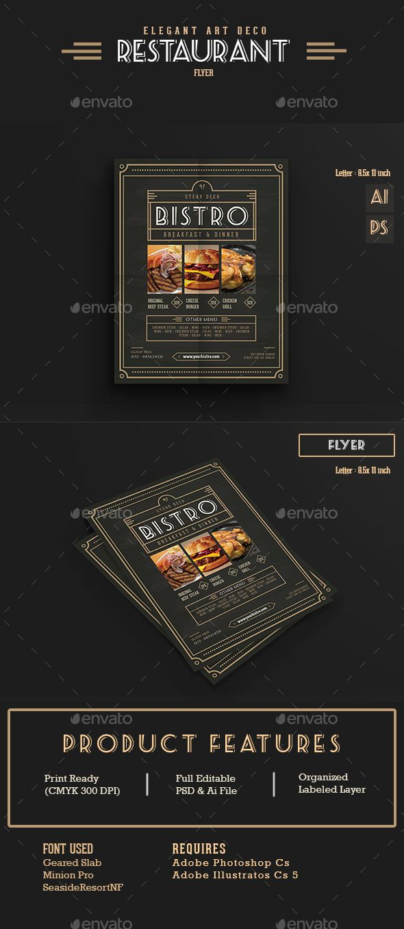 Elegant Restaurant Flyer / Menu Template PSD, Vector AI #design ...