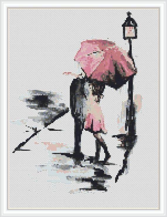 Rain cross stitch pattern umbrella cross stitch pdf abstract cross stitch love cross stitch pattern embroidery pdf