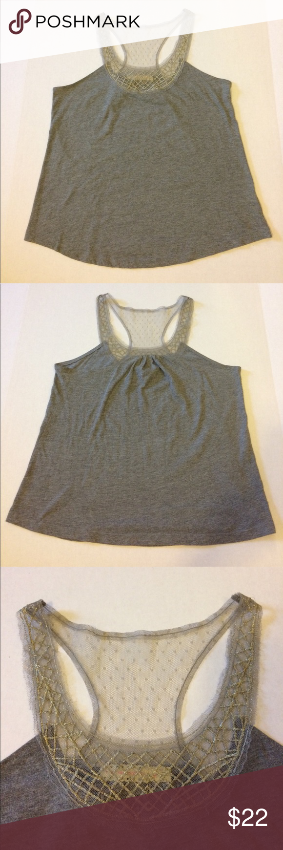 Urban Outfitters Pins and Needles Tank Gray tank with gray lace and gold embroidered accents. 50% polyester/40% cotton/10% viscose. Urban Outfitters Tops Tank Tops