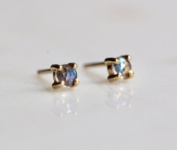 Photo of 14K Gold Labradorite Studs, Post Earrings, Minimal Jewelry, Tiny Studs, Solid Gold, Dainty Jewelry, Rose Cut Stone