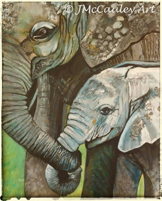 Elephants,  with names of two children hidden inside. Acrylic on canvas