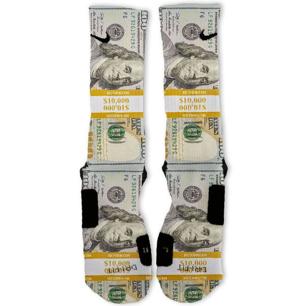 Bands 100 Dollar Bill Benjamins Custom Nike Elite Socks | Custom