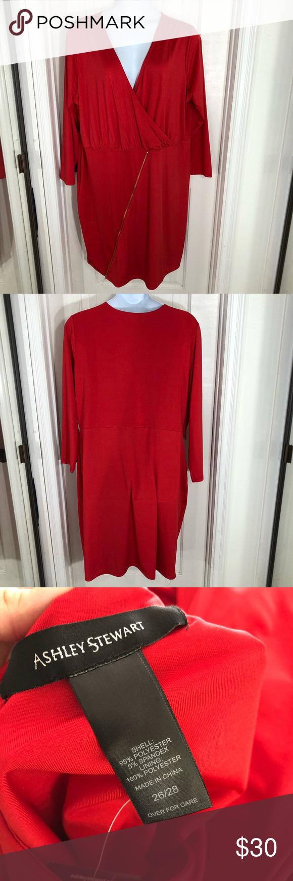 Ashley stewart red long sleeve dress ashley stewart sleeved