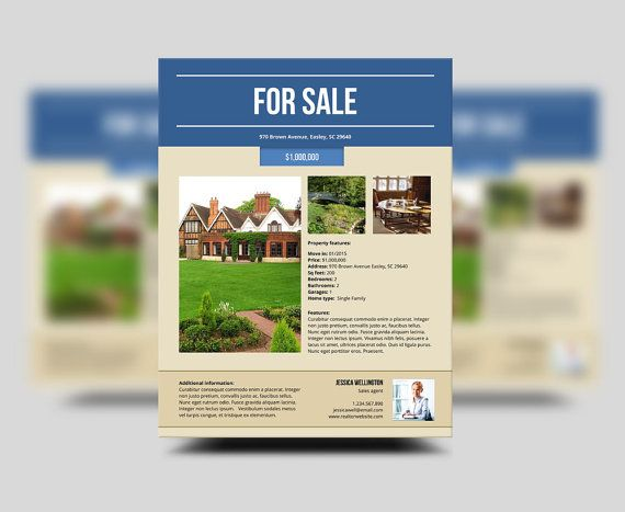 Real Estate Flyer Realtor Flyer Home Sale Property by LucaLogos - home for sale template