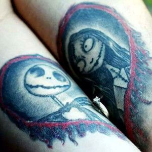 d422b75df Jack and Sally Couples Tattoo. 25 Geeky Couple Tattoos for Gamers Book  Lovers & Nerds | Inked .