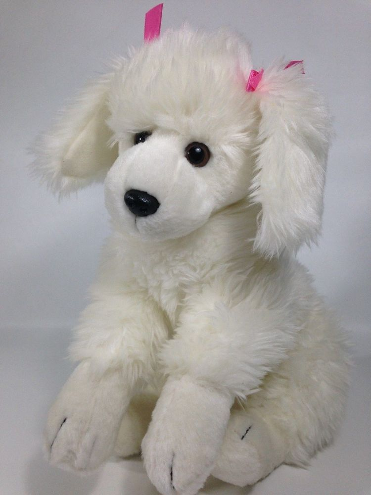 Animal Alley White French Poodle Plush Puppy Dog Pink Bows Stuffed