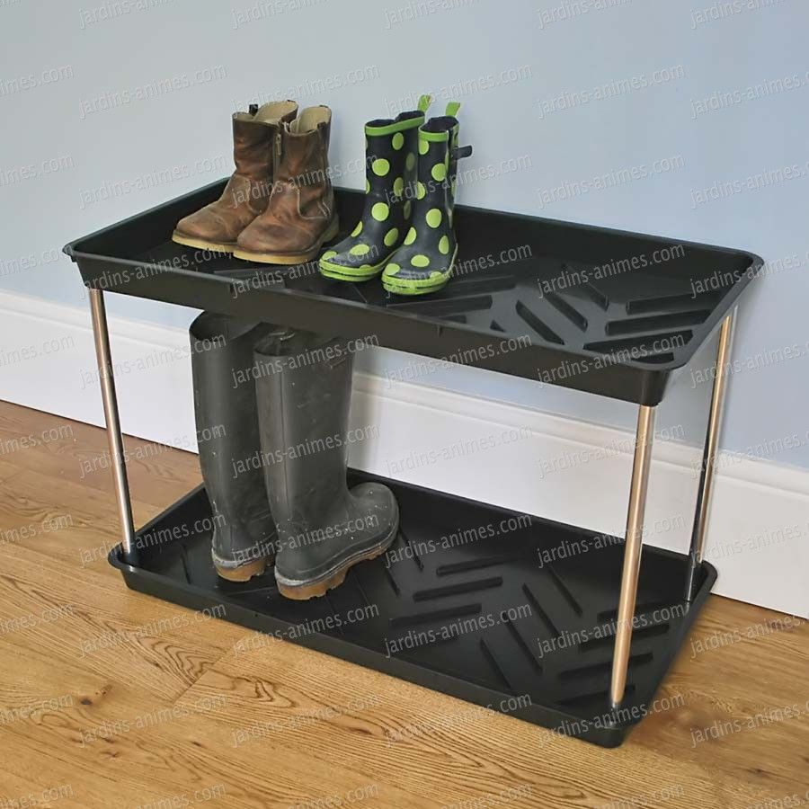 Double en pour et Plateau bottes chaussures égouttoir étage ZNw8OnPXk0