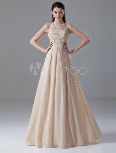 Vestido de noche de gasa de color champaña sin mangas - Milanoo.com ... 3bd56cc88789