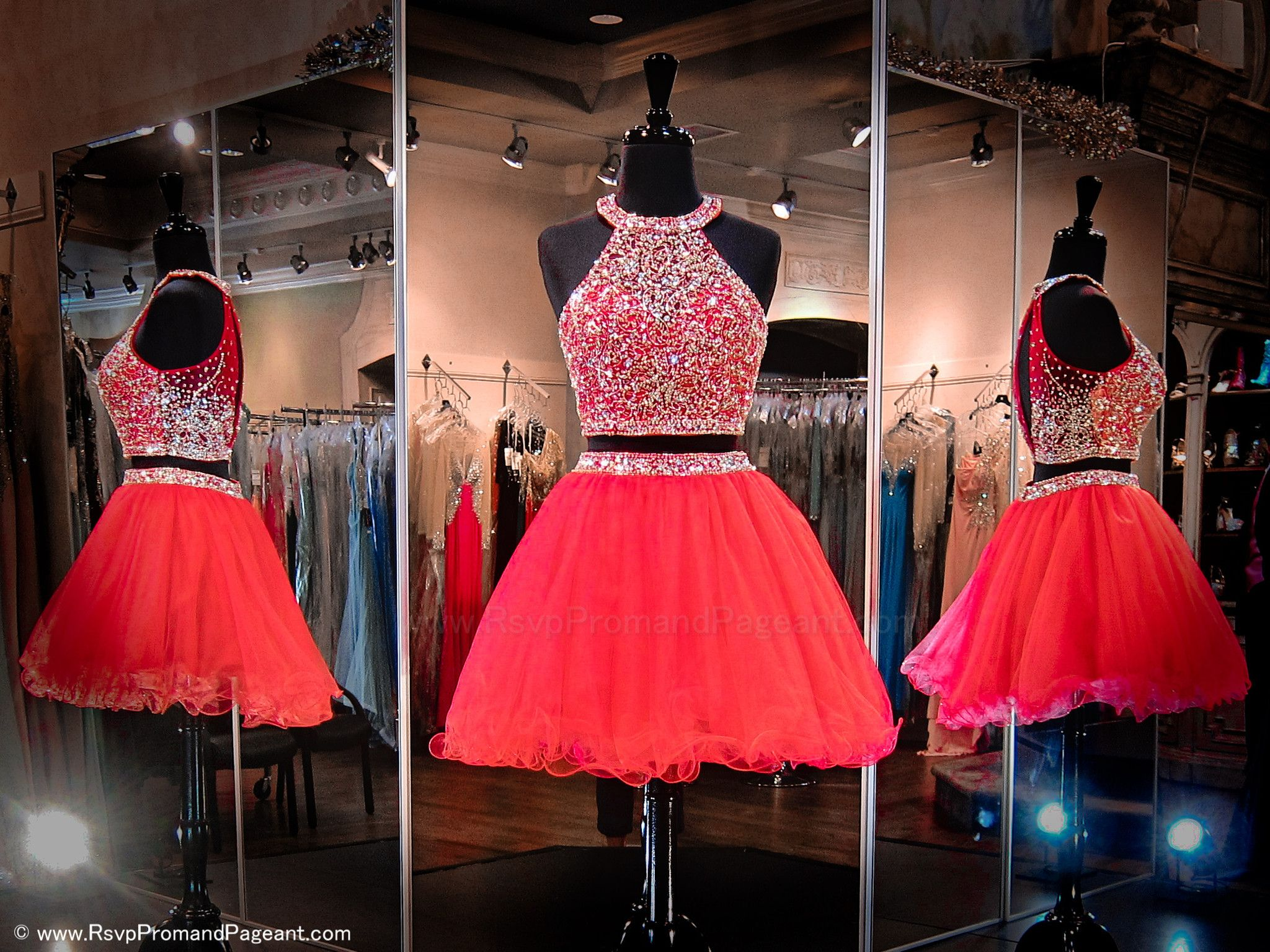 This one-of-a-kind red two piece short homecoming dress is ...