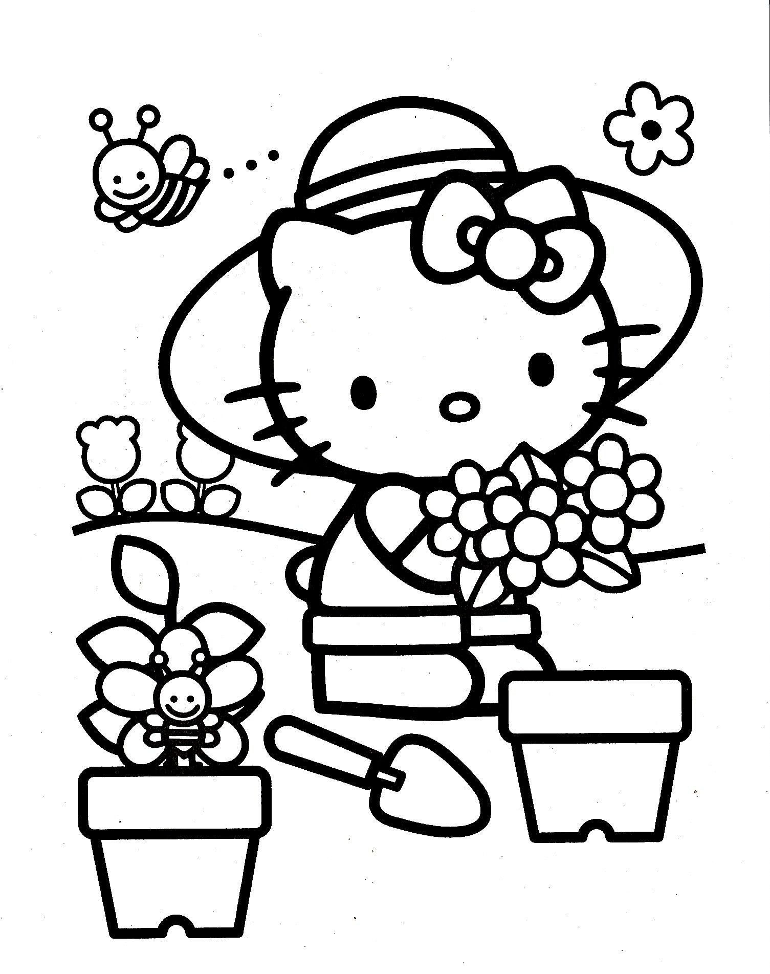 Hello Kitty Coloring Pages Hello Kitty Coloring Page With Images 刺繍 図案 塗り絵 子供 室内 遊び