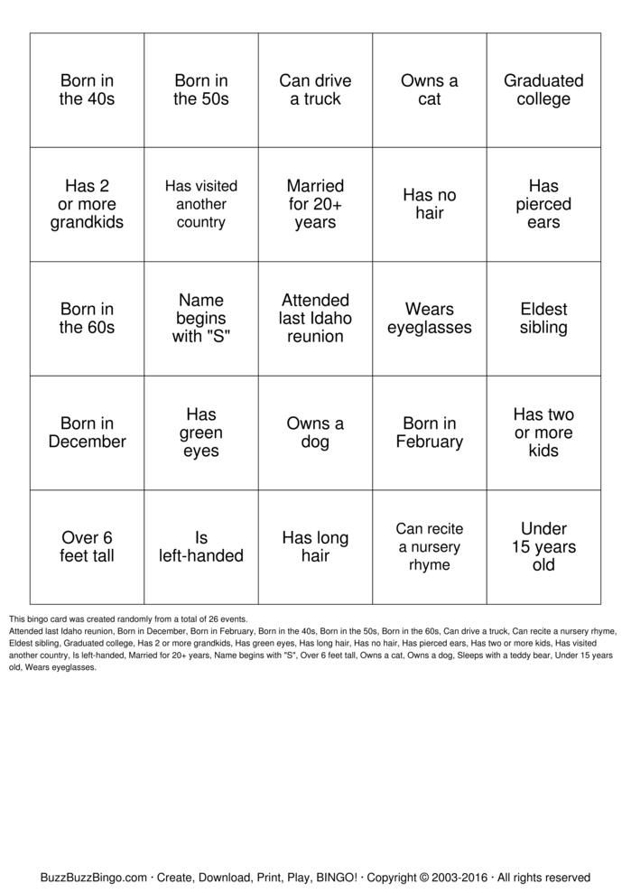 Download Herzinger Reunion Human BINGO Bingo Cards Christmas party