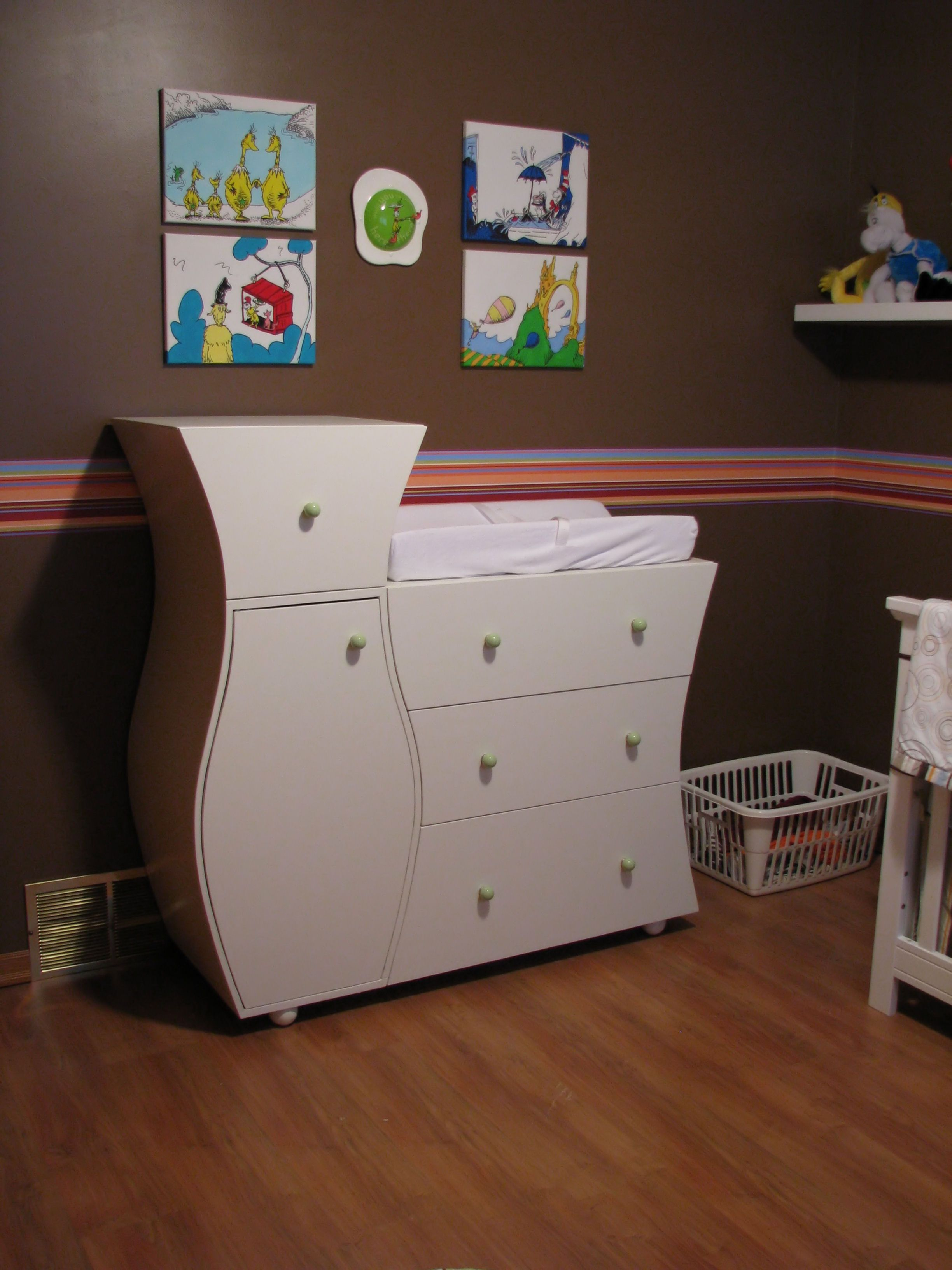 Dr Seuss themed nursery - custom dresser (by my dad!). | Baby Miller ...