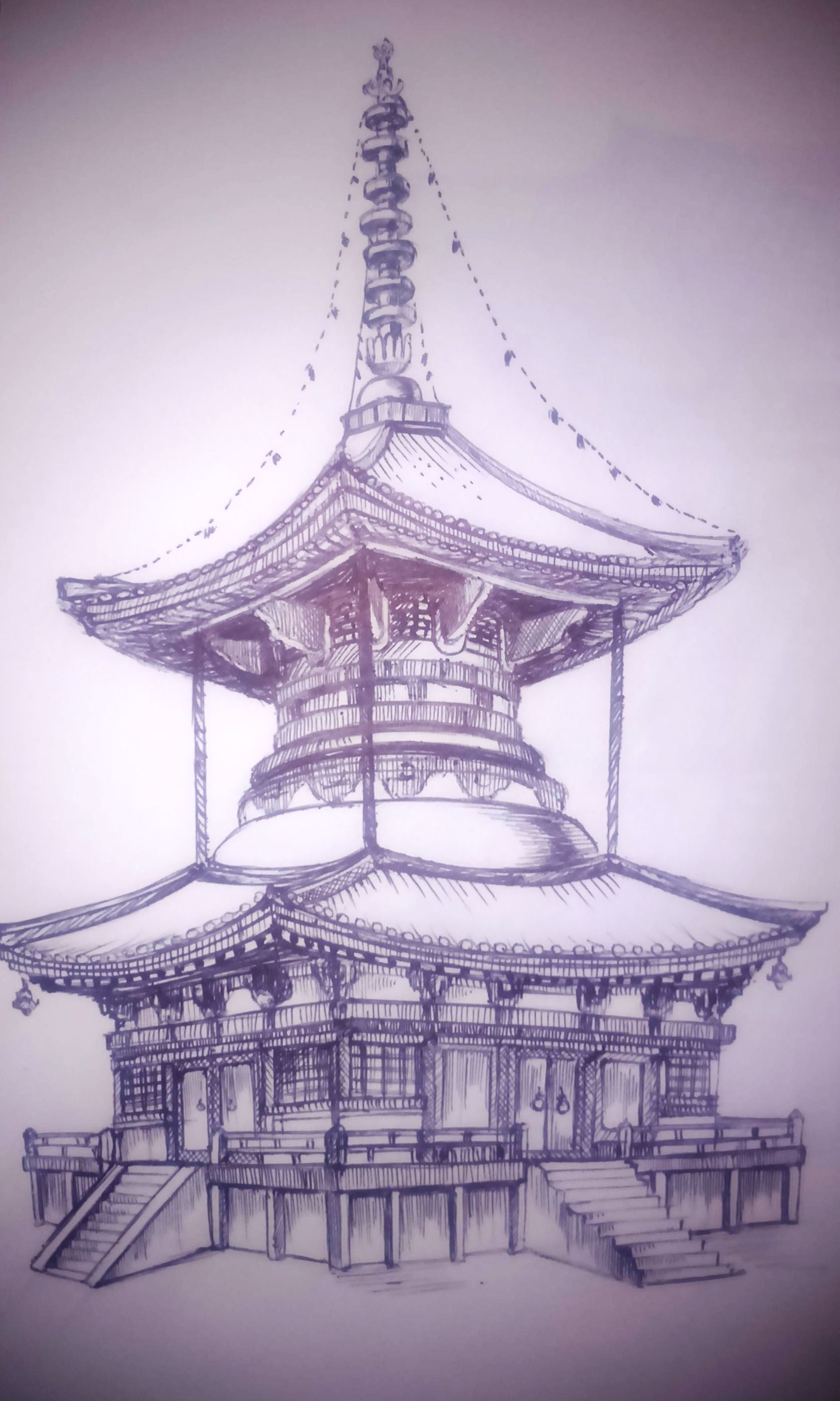 chinese temple 1 sketching pinterest temple tattoo and oriental. Black Bedroom Furniture Sets. Home Design Ideas
