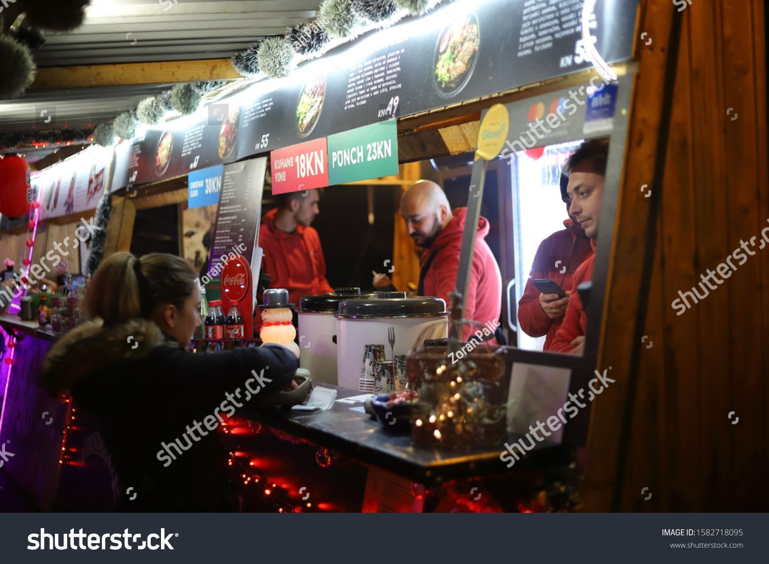 Zagreb Croatia 12u002f07u002f2019 Food And Drink Stands At Strossmayer Square During Advent In Zagreb