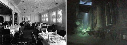 The Titanic's dining room as it originally looked and how it looks now.