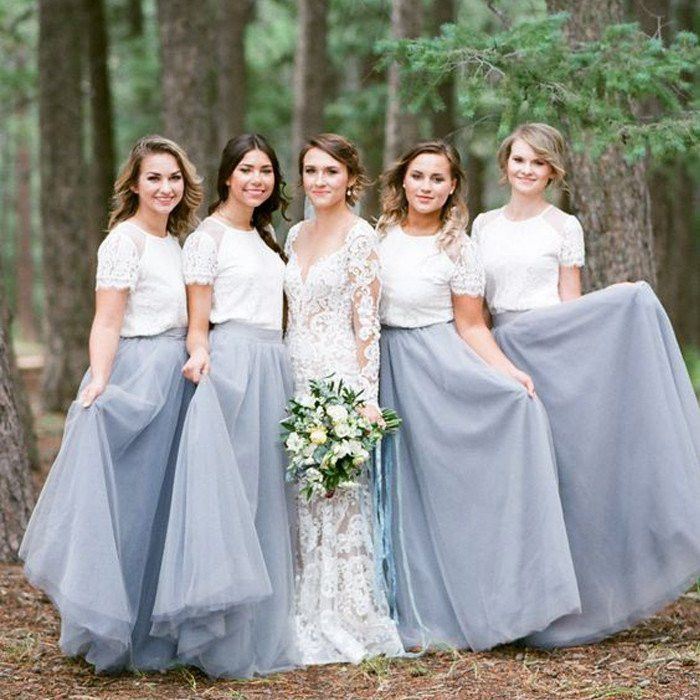 4dcfb1e0d5 Short Sleeve White Top Light Grey Tulle Skirt Popular Bridesmaid Dresses,  PD0300 Cheap Party Dresses