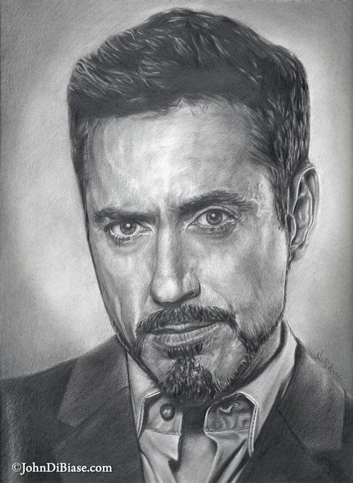 Robert Downey Jr As Tony Stark Iron Man Pencil Portrait By John