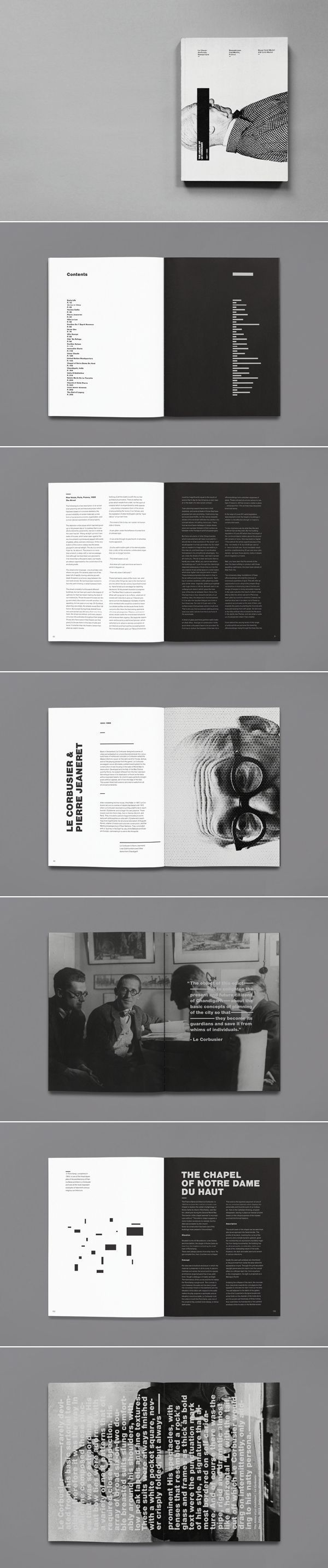 Alternate background colors to delineate different content. Doing it in black and white makes the contrast even bolder. | The Legacy of Le Corbusier
