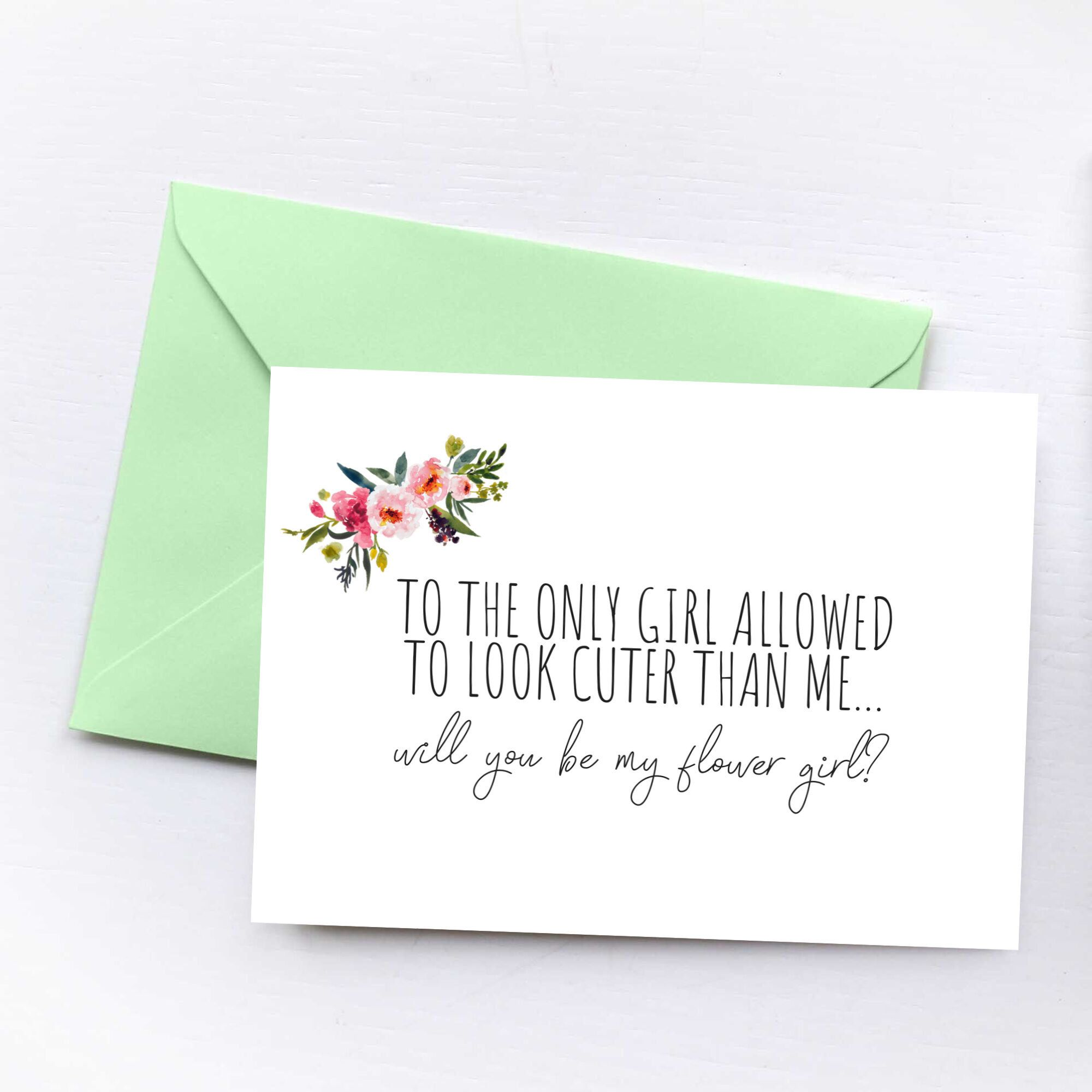 Will You Be My Flower Girl Wedding Card Flower Girl Proposal Card