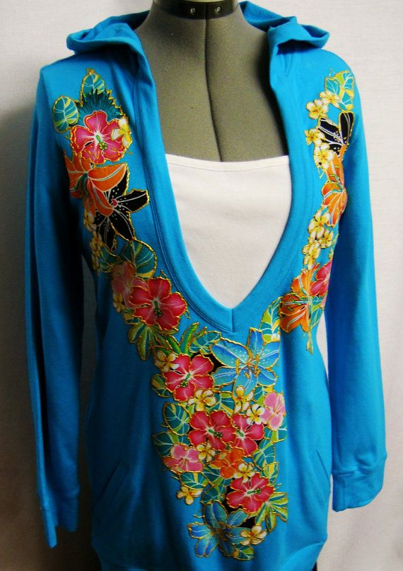Hoodie With Floral Fabric Applique