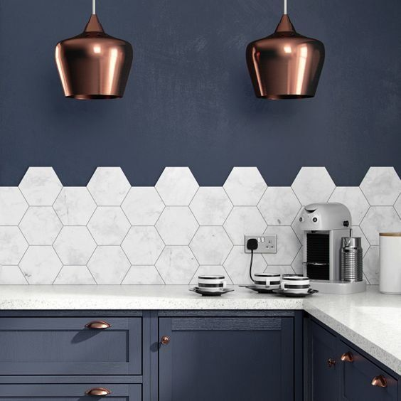 Carrara Polished Marble & Black Emperador Honed Marble tiles in this ...