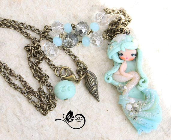 polymer clay necklace / siren / clay / fimo / by ZingaraCreativa