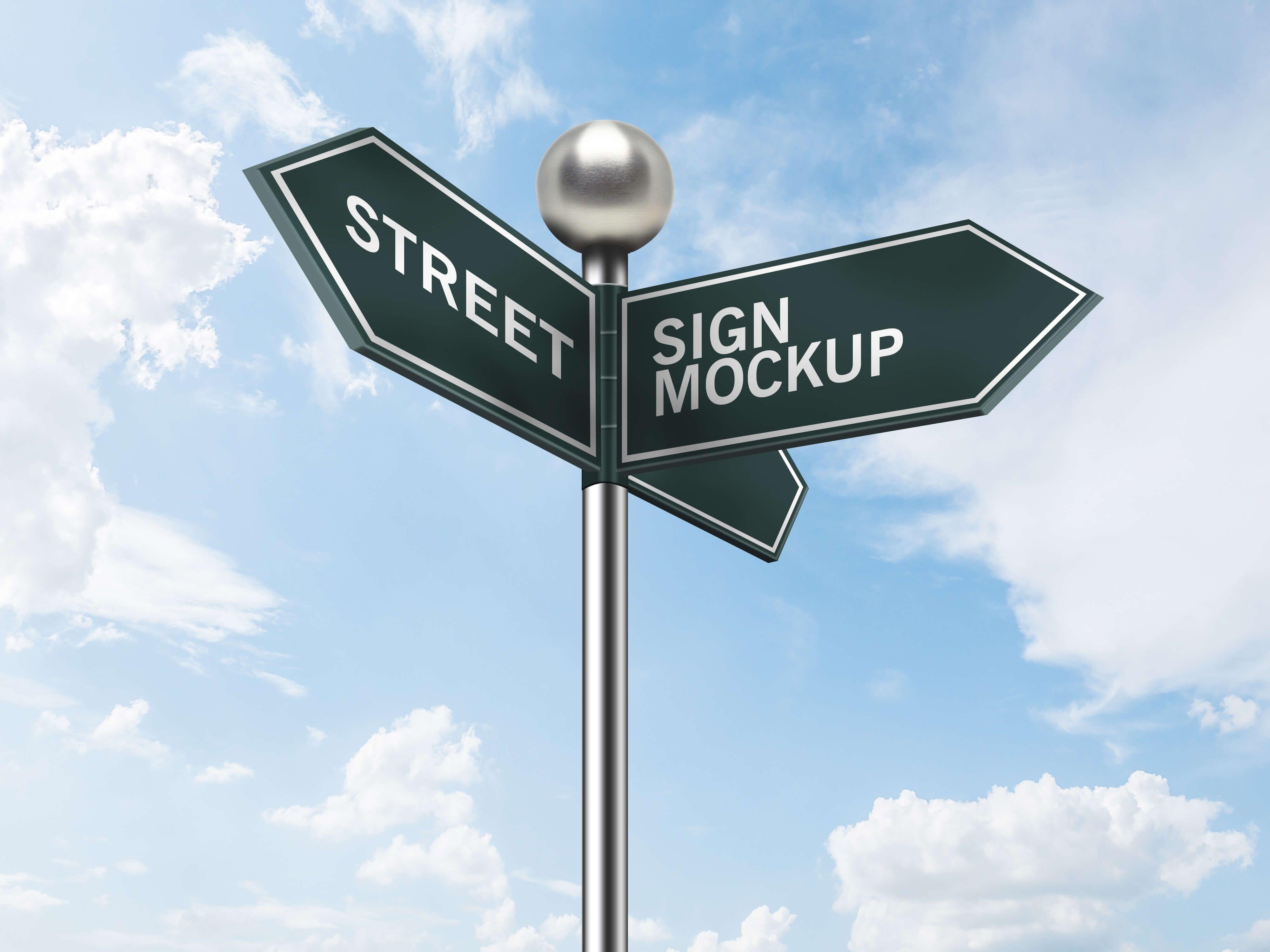 Sky View Street Sign Board Mockup Psd Template Street Signs Sign Board Design Sign Mockup