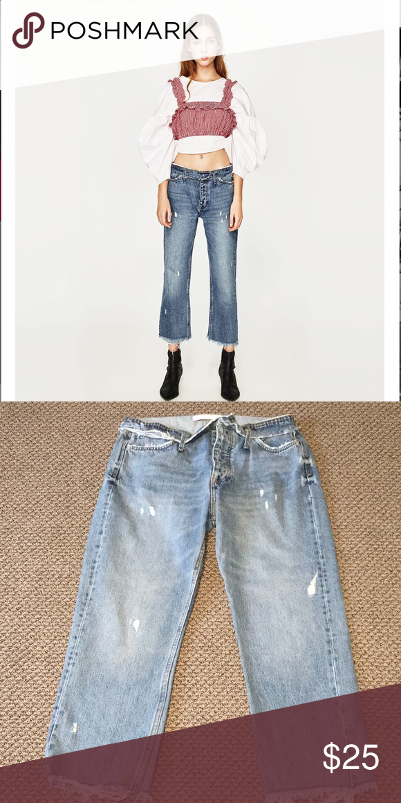 ZARA LOW RISE STRAIGHT FIT CROPPED JEANS NW NEVER WORN! Low rise, straight through the hip, cropped and frayed throughout! Zara Jeans Ankle & Cropped